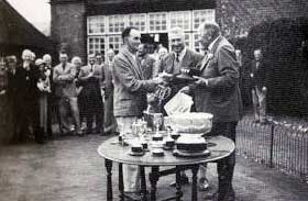 Arthur Patey receiving the Bognor Challenge Cup